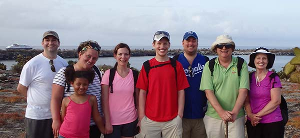 Advisor Mollie Bechtold and family in Galapagos