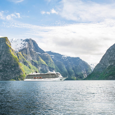 The Viking Star cruising through Fjords of Flam, Norway.
