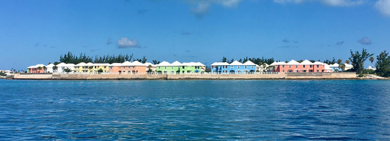 A colorful array of houses on the water in Bermuda